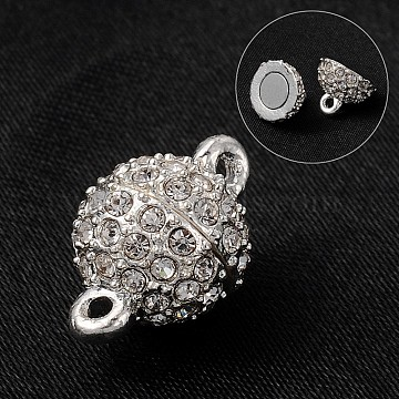 Round Alloy Rhinestone Magnetic Clasps, Silver Color Plated, 16x10mm, Hole: 1mm(X-ALRI-E123-02S)