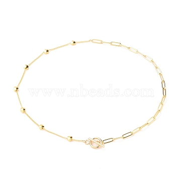 Chain Necklaces, with Brass Curb Chains & Paperclip Chains, 304 Stainless Steel Toggle Clasps, Heart, Golden, 17-5/8 inches(44.9cm)(NJEW-JN03189)