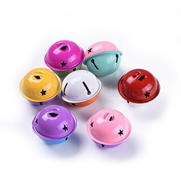 Iron Bell Pendants, Two Tone Color, Mixed Color, 33.5x40mm, Hole: 8x3mm(IFIN-S702-11-M)