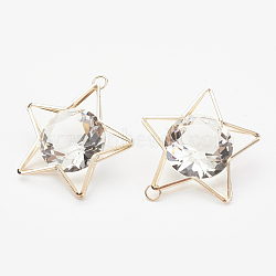 Pendentifs en fer, avec verre strass, étoiles, or clair, 47.5x43x17mm, Trou: 4.5mm(IFIN-P010-01KCG)