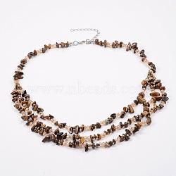 colliers à plusieurs étages en œil de tigre naturel et en perles de rocaille, colliers en couches, avec les résultats en laiton, 18.8 (48 cm)(NJEW-K100-05C)