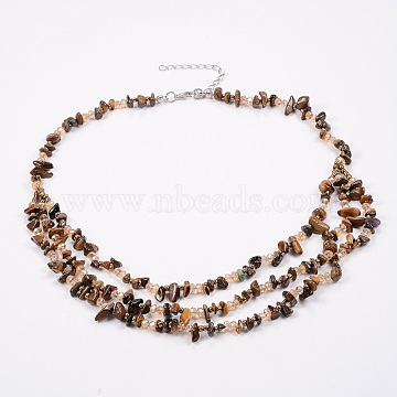 Natural Tiger Eye and Glass Seed Beads Tiered Necklaces, Layered Necklaces, with Brass Findings, 18.8inches(48cm)(NJEW-K100-05C)