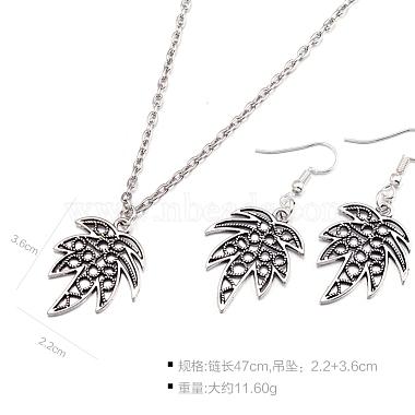 Zinc Alloy Coconut Leaf Jewelry Sets(SJEW-BB16592)-3