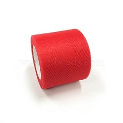 Tissu de filet, Tissu à carreaux en tulle pour la fabrication de jupe, DarkRed, 2'' (5 cm); environ 25 mètres / rouleau (22.86 m / rouleau)(OCOR-P010-C-C17)
