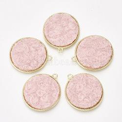 Сплав подвески, с кашемировой тканью, плоские круглые, светлое золото, розовый, 32x28x2.5 mm, отверстия: 2 mm(PALLOY-T056-117B-07)
