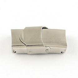 Surface lisse fermoirs de bande de montre 201 en acier inoxydable, couleur inoxydable, 25x13x7mm, Trou: 10x3mm(STAS-R063-61)