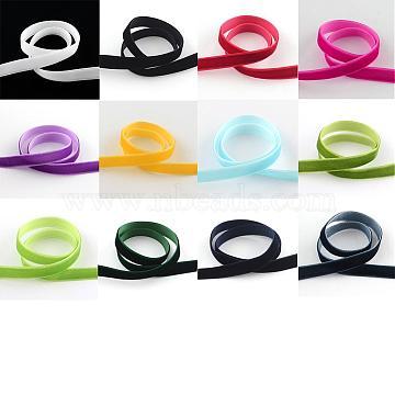 12 colors Single Face Velvet Ribbon, 1m/bundle,12 bundle/set., Mixed Color, 5/8 inch(15.9mm); about 1m/bundle,12 bundle/set(OCOR-JP0004-15.9mm)