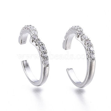 Brass Micro Pave Clear Cubic Zirconia Cuff Earrings, Platinum, 15x3mm, Inner Diameter: 12mm(EJEW-I249-05P)