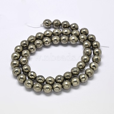 Natural Pyrite Round Beads Strands(G-F197-07-10mm)-2