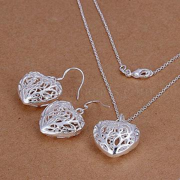 Silver Color Plated Brass Party Jewelry Sets, Hollow Heart Pendant Necklaces and Earrings, 18 inches; 38x23mm(SJEW-BB11453)