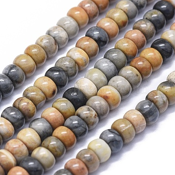 Natural Picasso Jasper Beads Strands, Rondelle, 6x4mm, Hole: 0.6mm; about 97pcs/strand, 15.5 inches(39.5cm)(G-K293-B03-A)