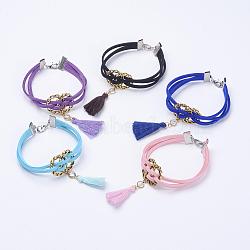 """Bracelets multi-brins avec cordon en faux suède, avec des résultats en laiton et en fer et des glands en nylon, couleur mixte, 7-1/8"""" (180 mm)(BJEW-JB03236)"""