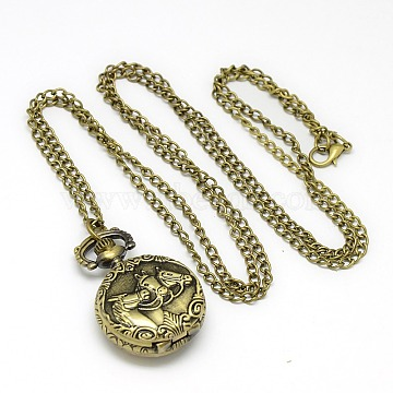 Alloy Flat Round with Horse Pendant Necklace Pocket Watch, with Iron Chains and Lobster Claw Clasps, Quartz Watch, Antique Bronze, 34.6 inches, Watch Head: 36x27x11mm(WACH-N011-84)
