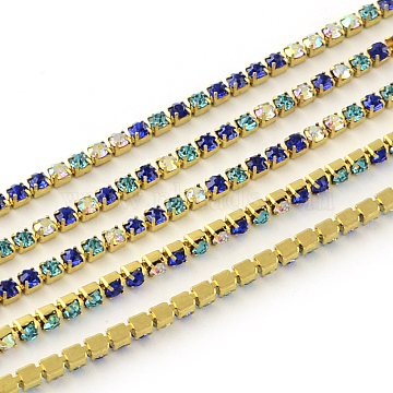 Nickel Free Raw(Unplated) Brass Rhinestone Strass Chains, Rhinestone Cup Chain, 2880pcs rhinestone/bundle, Grade A, Colorful, 2.2mm, about 23.62 Feet(7.2m)/bundle(CHC-R119-S6-10C-1)