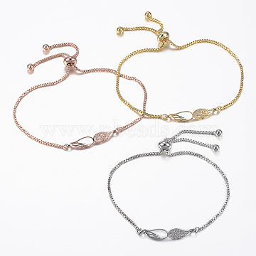 Adjustable Brass Micro Pave Cubic Zirconia Slider Bracelets, Bolo Bracelets, Wing, Mixed Color, 10-5/8inches(270mm); 1.2mm(BJEW-E317-17)