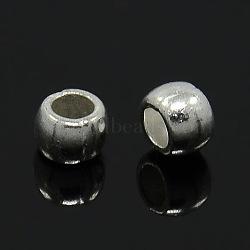 тибетского стиля бисера Spacer, свинца и кадмия, барабан, серебряный цвет, о 6 mm длиной, 7 mm, отверстия: 3.5 mm