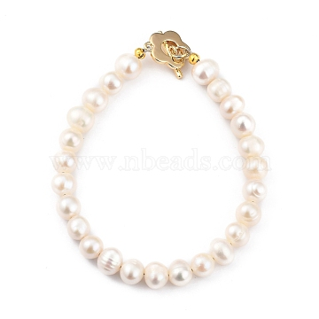 Natural Cultured Freshwater Pearl Beaded Bracelets, with Flower Brass Toggle Clasps, Golden, Floral White, 7-5/8 inches(19.5cm)(BJEW-JB05434-02)