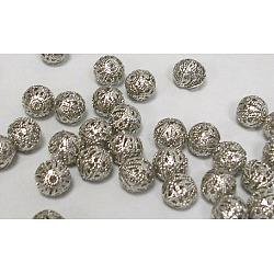Filigree Beads, Filigree Ball, Brass, Round, Platinum, 1cm, hole: about 1mm(X-EC123)