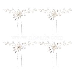 Fourchettes à cheveux de mariée nbeads®, fil de laiton avec strass et perle acrylique, fleur, blanc, 81mm(PHAR-NB0001-01)