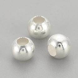Perles 925 en argent sterling, rond, argenterie, 4x3.5mm, Trou: 1.5mm(STER-S002-12-4mm)