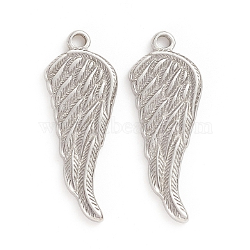 304 Stainless Steel Pendants, Wing, Stainless Steel Color, 26x10x1.5mm, Hole: 1.6mm(X-STAS-D174-29P)
