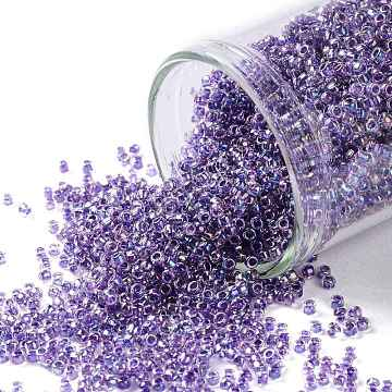 TOHO Round Seed Beads, Japanese Seed Beads, (788) Inside Color AB Crystal/Tanzanite Lined, 15/0, 1.5mm, Hole: 0.7mm, about 3000pcs/10g(X-SEED-TR15-0788)