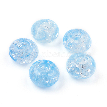 Transparent Crackle Acrylic Beads, Large Hole Beads, Rondelle, SkyBlue, 14x8mm, Hole: 5.5mm; about 510pcs/500g(MACR-E025-30F)