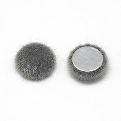 Cabochons recouverts de fausse fourrure, avec fond en aluminium, demi-rond / dôme, grises , 15x5mm(X-WOVE-S084-49I)