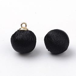 pendentifs recouverts de tissu de polyester fait main, avec les résultats en laiton de tonalité d'or, arrondir, noir, 14~14.5x10 mm, trou: 1.5 mm(WOVE-S091-01A)