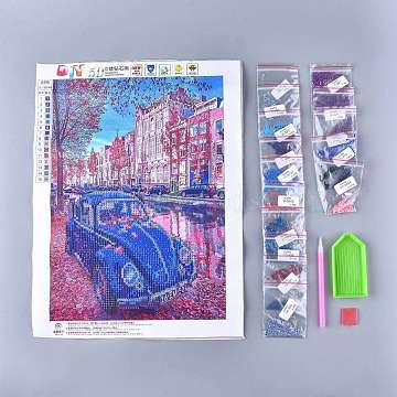 DIY Diamond Painting Stickers Kits For Kids, with Diamond Painting Stickers, Resin Rhinestones, Diamond Sticky Pen, Tray Plate and Glue Clay, Car, Mixed Color, 39.7x31cm(DIY-F054-07)