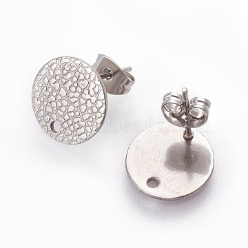 304 Stainless Steel Stud Earring Findings, with Ear Nuts/Earring Backs, Flat Round with Spot Lines, Stainless Steel Color, 12mm, Hole: 1.2mm, Pin: 0.8mm(X-STAS-O119-15C-P)