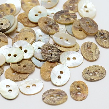 2-Hole Oval Mother of Pearl Buttons, Akoya Shell Button, Akoya Shell Button, Camel, 11.5x9.5x1mm, Hole: 1mm; about 720pcs/bag(SHEL-N033-14-11.5x9.5)
