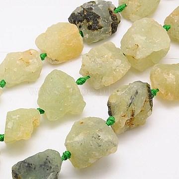 18mm DarkKhaki Nuggets Prehnite Beads