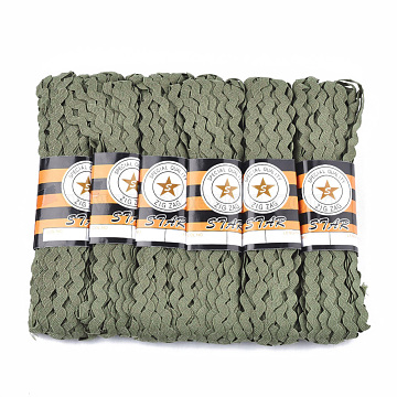 Polypropylene Fiber Ribbons, Wave Shape, Olive, 7~8mm; 15yard/bundle, 6bundles/bag(SRIB-S050-B02)