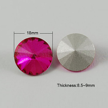 Glass Pointed Back Rhinestone, Rivoli Rhinestone, Back Plated, Cone, DeepPink, 18x8.5~9mm(X-RGLA-R003-18mm-16)