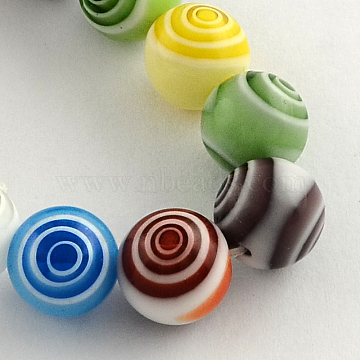 Handmade Millefiori Glass Round Beads Strands, Mixed Color, 12mm, Hole: 1mm; about 32pcs/strand, 14.9 inches(LK-R004-94)