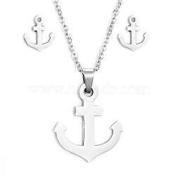 304 Stainless Steel Jewelry Sets, Pendant Necklaces and Stud Earrings, with Cable Chains, Earring Backs and Lobster Claw Clasps, Anchor, Stainless Steel Color, 17.7 inches(45cm); 10x9x1.5mm, Pin: 0.8mm(X-SJEW-D094-46P)