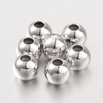 Round Sterling Silver Spacer Beads, Platinum, 6x5.5mm, Hole: 2mm(STER-I005-31-6mm)