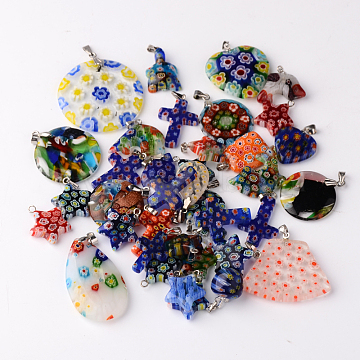 Platinum Mixed Color Others Millefiori Lampwork Pendants