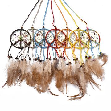 Chicken Feather Handmade Woven Net/Web with Feather Big Pendants, with Natural Wood Beads, Natural & Synthetic Gemstone, Cotton and Waxed Cord, Peace Sign, Mixed Color, 180~240x65x3~4mm(AJEW-S080-003)