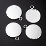 304 Stainless Steel Pendant Cabochon Settings, Plain Edge Bezel Cups, Flat Round, Silver, Tray: 20mm; 27x22x2mm, Hole: 3mm