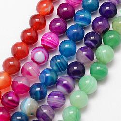 Natural Striped Agate/Banded Agate Bead Strands, Round, Grade A, Dyed & Heated, Mixed Color, 10mm, Hole: 1mm; about 37pcs/strand, 15inches
