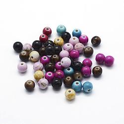 Волочильные акриловые бусины , окрашеные, круглые, разноцветные, 6 мм, отверстие : 1 мм(MACR-G056-04)