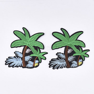 Computerized Embroidery Cloth Iron on/Sew on Patches, Appliques, Costume Accessories, Coconut Tree, Green, 75x80x1mm(X-FIND-T030-310)