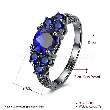 Blue Brass+Cubic Zirconia Finger Rings