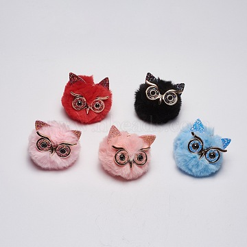 Mixed Color Owl Alloy+Other Material Key Chain