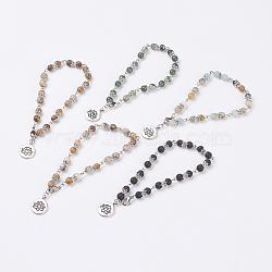 """Bracelets de cheville de pierres précieuses naturelles, avec des pinces à griffes en laiton et des pendentifs en alliage de style tibétain, lotus, 9-3/4"""" (247 mm)(AJEW-AN00220)"""