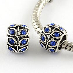 Perles européennes en alliage plaqué argent antique à gros trou, rondelle à la feuille, saphir, 9x7mm, Trou: 5mm(X-MPDL-R041-02F)