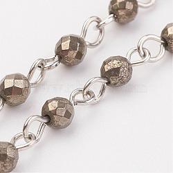 chaînes perlées à la main en pyrite naturelle, non soudée, avec épingle à oeil en fer, platine, 39.37; 1 m / brin(AJEW-JB00311-01)