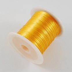 Tronçon d'orange perles élastique chaîne de fil, 1mm, 10m/rouleau(X-EW-S002-13)
